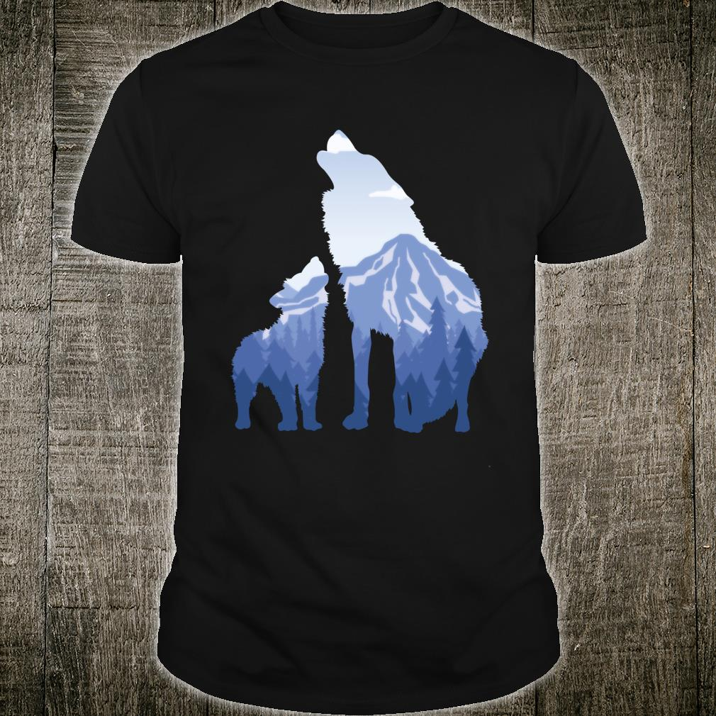 Wolf and Puppy, Husky, Mountains, Nature, Winter Sports Shirt