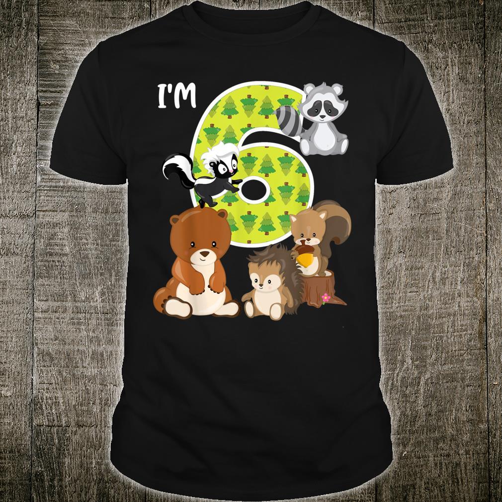 Woodland Animals 6th Birthday 6 Year Old Birthday Party Shirt