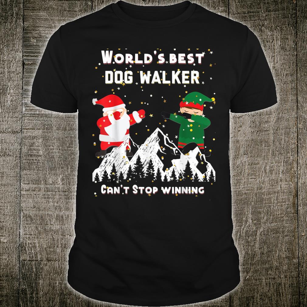 World's Best Dog Walker dabbing Santa and Elf in Snowy night Shirt