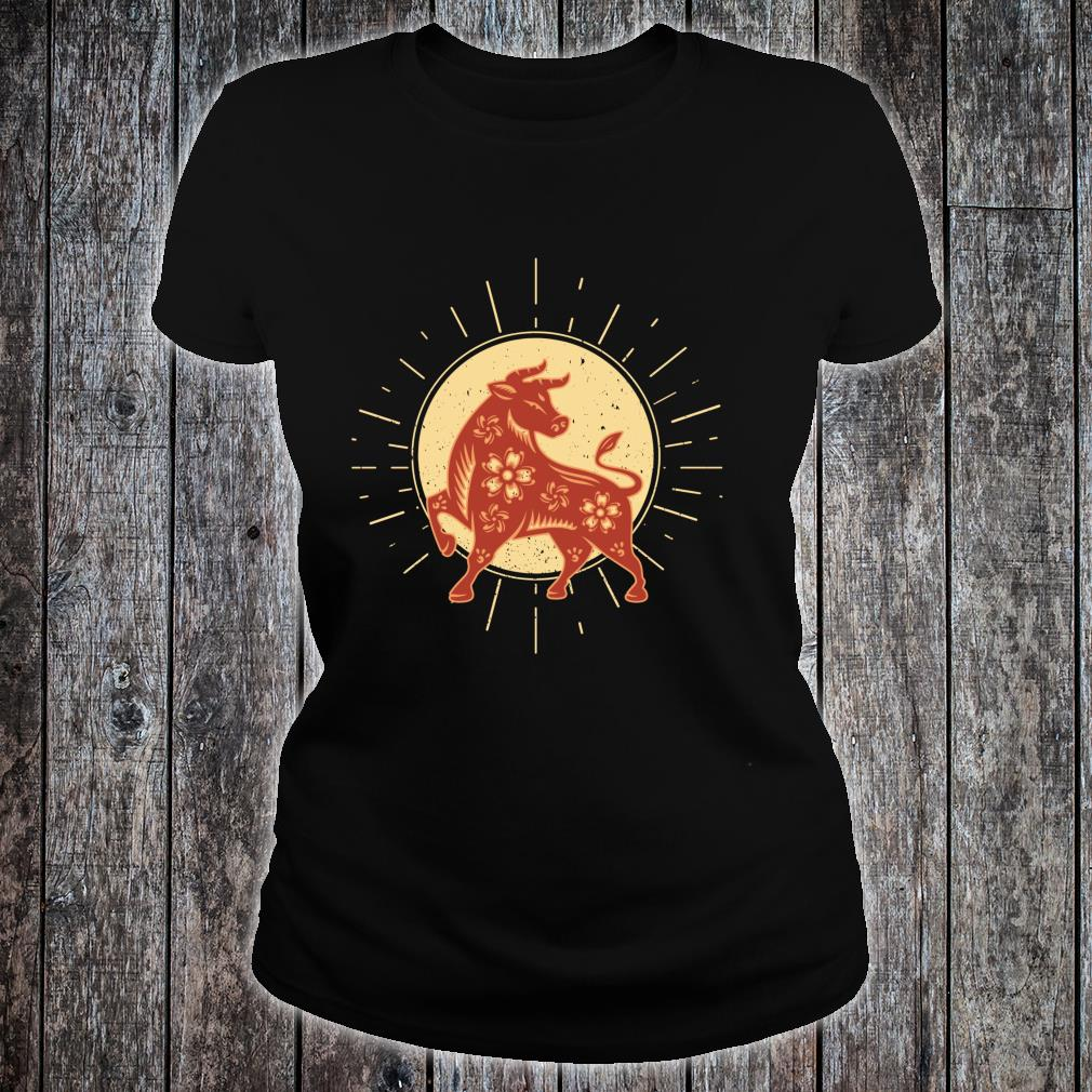 Year Of The OX 2021 Chinese Zodiac Happy New Year Red Ox Shirt ladies tee