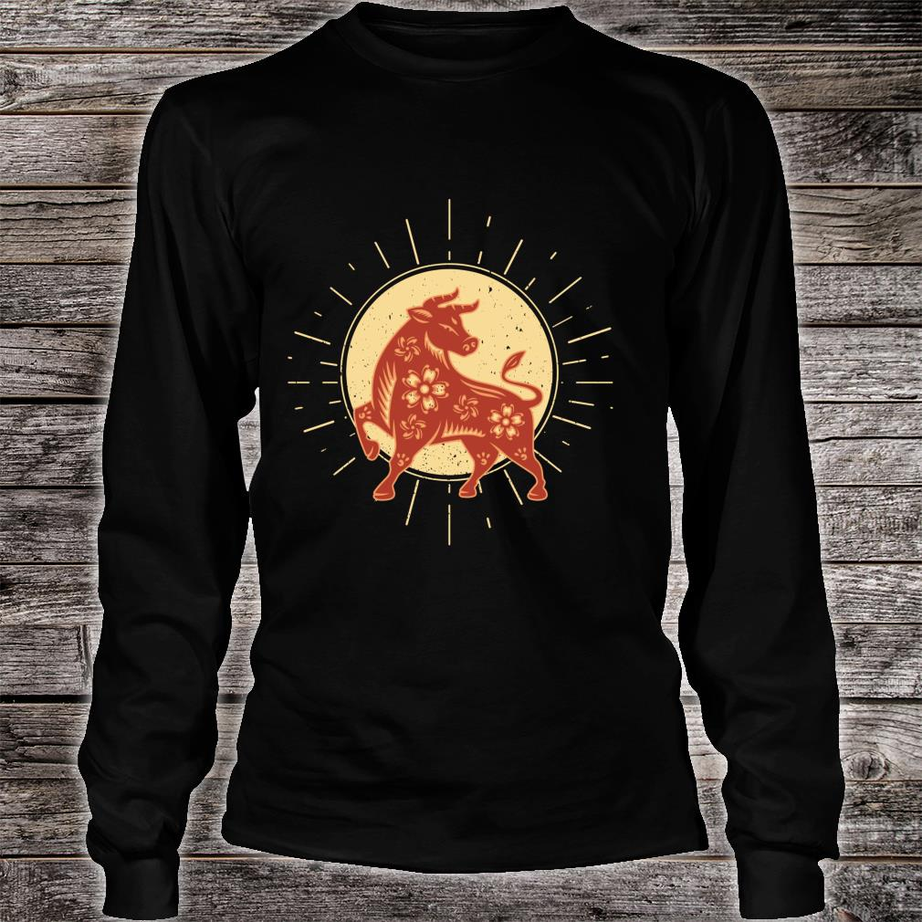 Year Of The OX 2021 Chinese Zodiac Happy New Year Red Ox Shirt long sleeved
