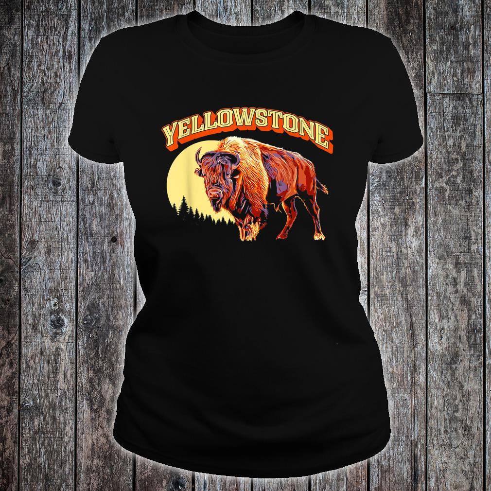 Yellowstone National Park Bison Vintage Illustration Shirt ladies tee