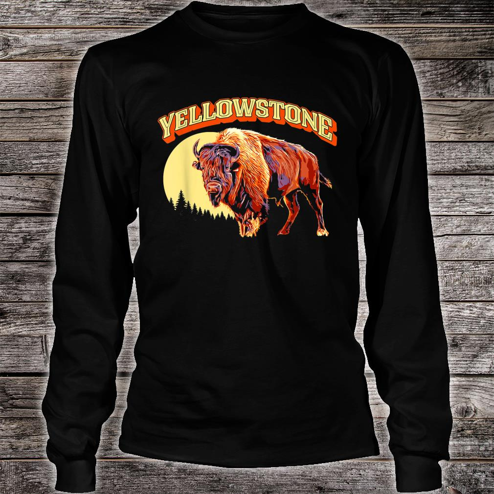 Yellowstone National Park Bison Vintage Illustration Shirt long sleeved