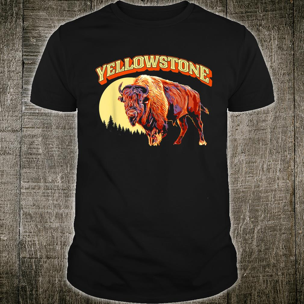 Yellowstone National Park Bison Vintage Illustration Shirt