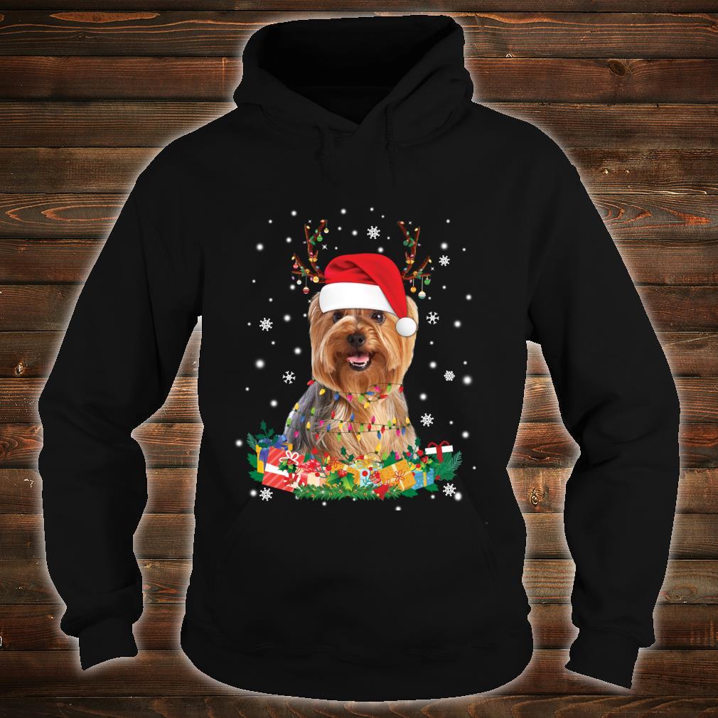 Yorkshire Terrier Reindeer Christmas Lights Dog Xmas Shirt hoodie