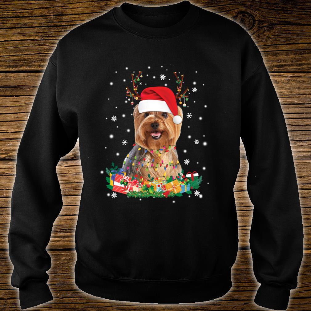 Yorkshire Terrier Reindeer Christmas Lights Dog Xmas Shirt sweater