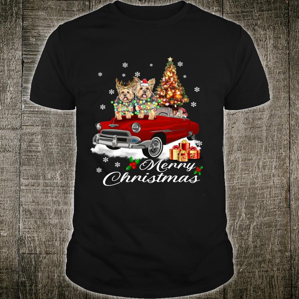 Yorkshire terrier on Red Truck Christmas Pajama Dogs Shirt