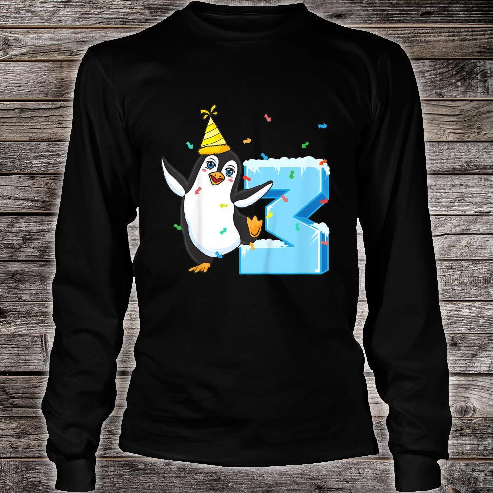 Youth 3rd Birthday Penguin Shirt long sleeved