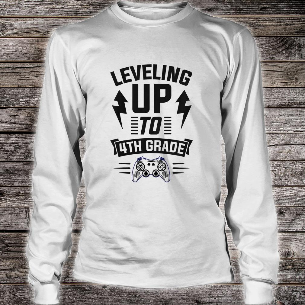 Youth Leveling Up To 4th Grade Fourth Cool Gamer Christmas Shirt long sleeved