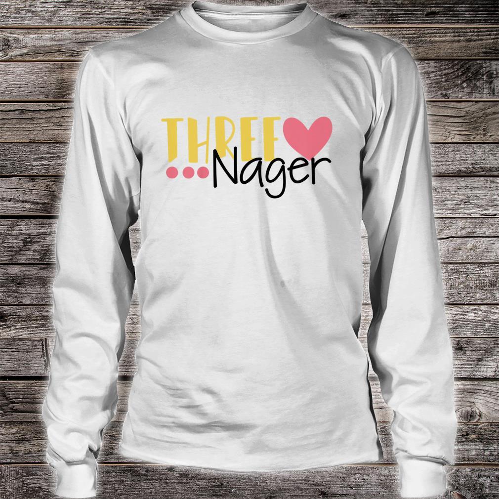 Youth Three Nager Threenager 3rd Birthday Boy Third Birthday Girl Shirt long sleeved