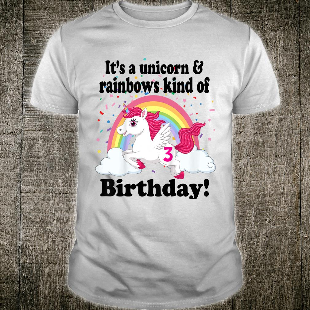 Youth Unicorn & Rainbows Three 3 Year Old Unicorn 3rd Birthday Shirt