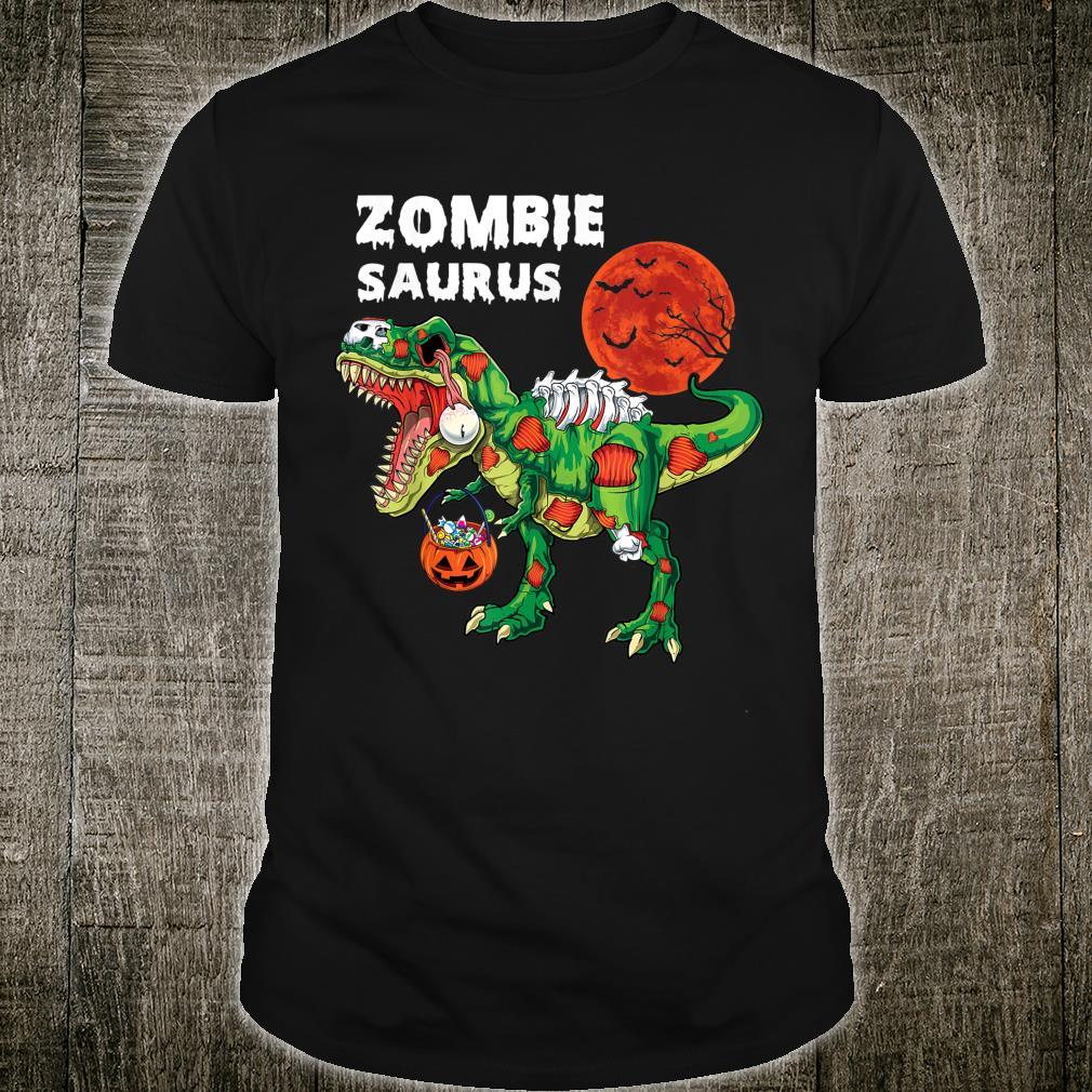 Zombie T rex with Pumpkin candy halloween costume Shirt