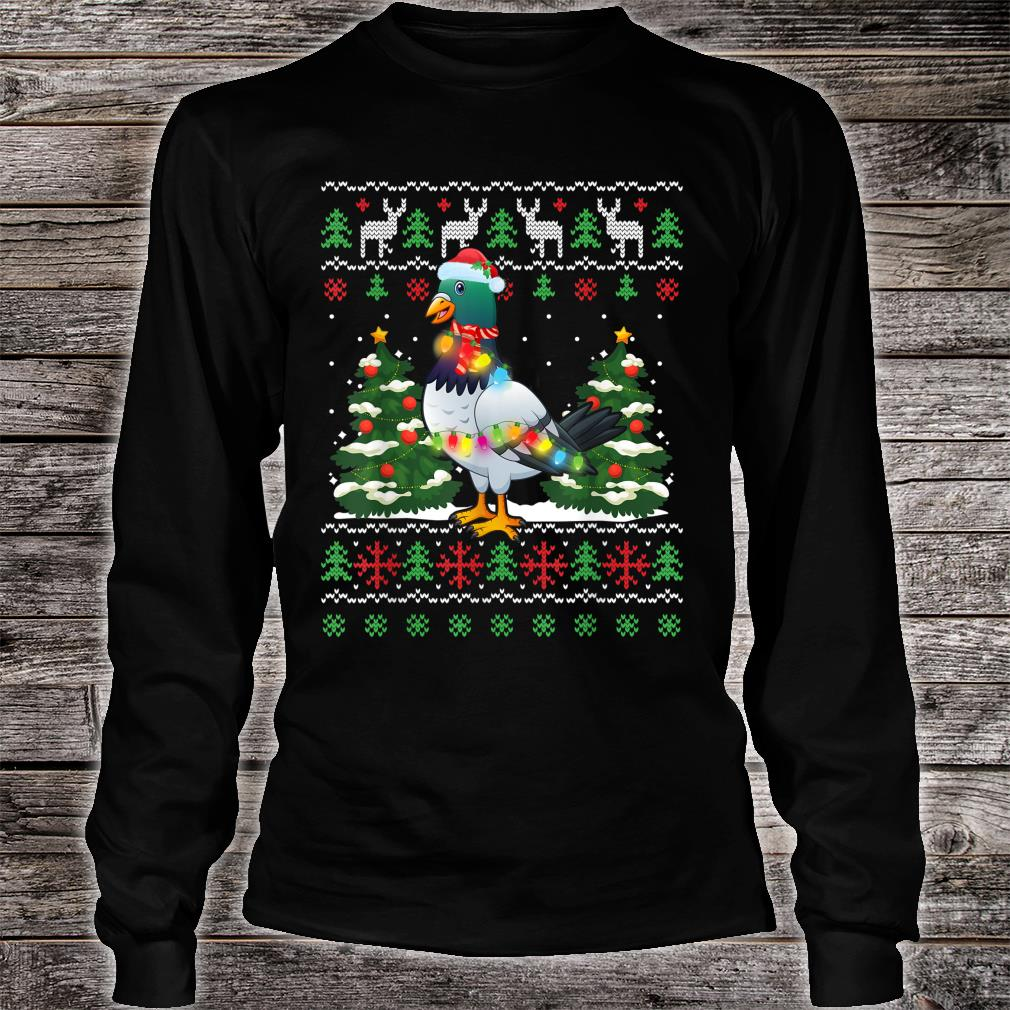 Zookeeper Pigeon Bird Santa Hat Xmas Tree Lights Christmas Shirt long sleeved