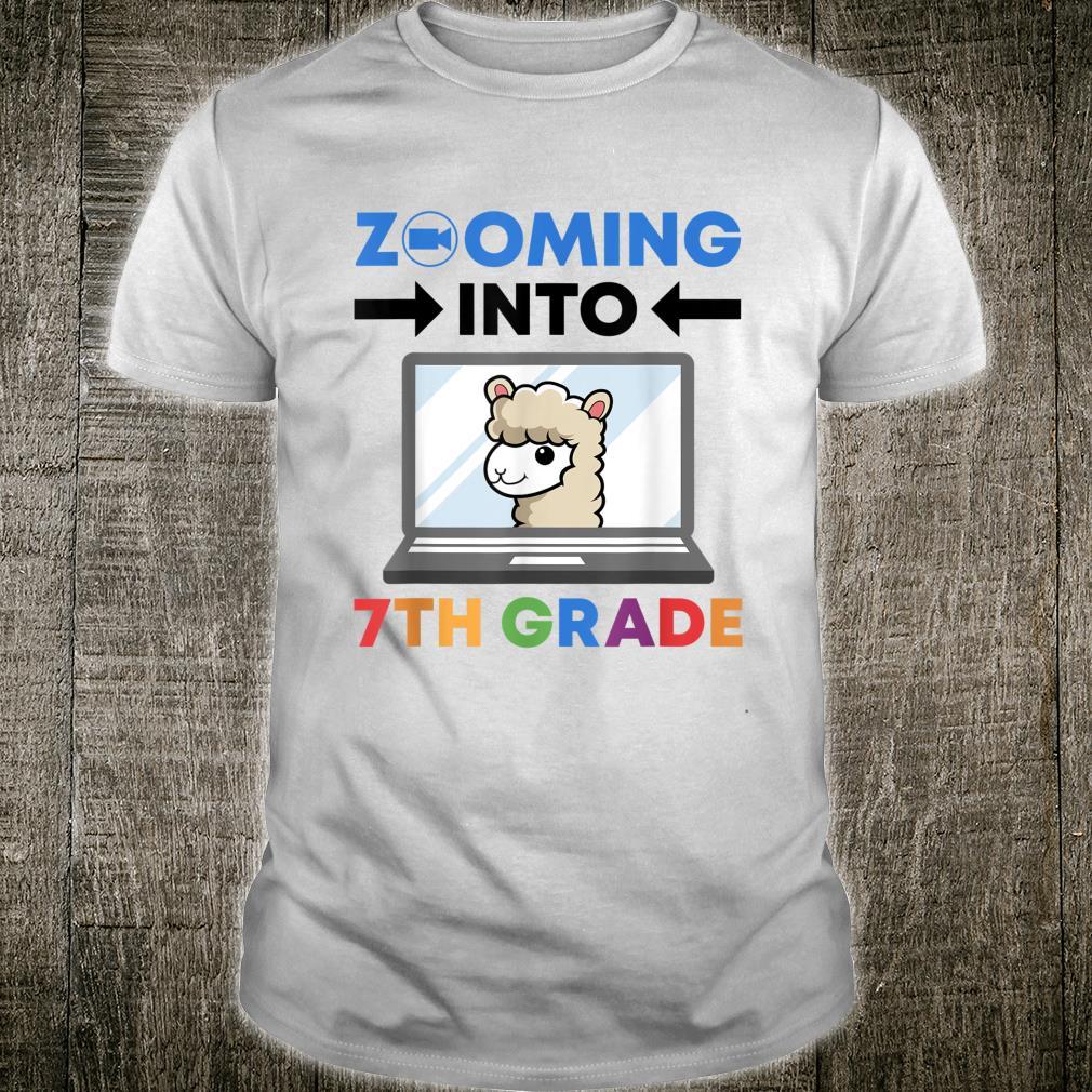 Zooming Into 7th Grade First Day of School Kid Virtual Llama Shirt